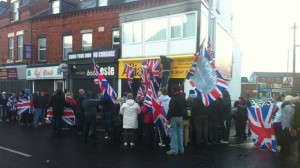 Loyalist protestors outside Alliance HQ last year