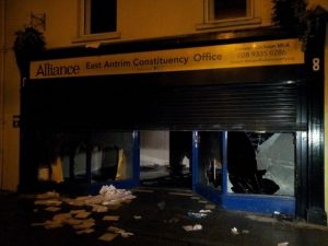 Alliance Party office in Carrick torched by loyalist mob last December