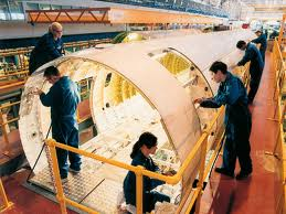 Bombardier Belfast staff working on fuselage