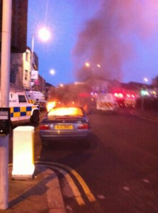 Burning car in Castlereagh Street, east Belfast on Saturday