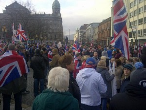 Union flag protestors gather every Saturday at Belfast City Hall