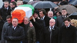 Actor Stephen Rea at Dolours Price funeral in west Belfast