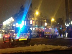 Six police landrovers at Donegall Road protest on Friday night