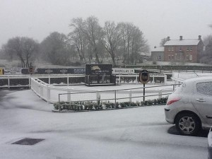 Snowing at Down Royal racecourse on Tuesday afternoon