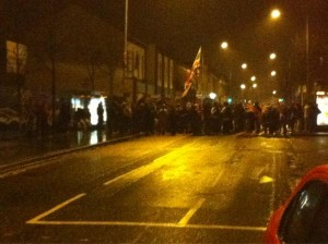 Loyalist protesters in east Belfast on Sunday night