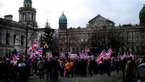 Union flag protestors gather at Belfast City Hall
