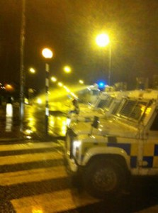 Police and water cannon in Newtownabbey