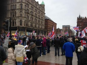 Union flag protetors at Belfast City Hall