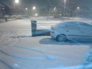Snow lying thick on the ground in Glengormley, Co Antrim