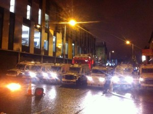 Police land rovers in east Belfast on Saturday evening