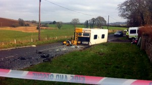 The scene of Tuesday morning's crash between a school bus and a van in Co Down