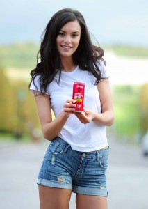GOING DOWN A STORM-ONT IN SAN FRANCISCO... Local model Zara Shaw enjoys a berry tasty can of Little Big Shot, Northern Ireland's very own healthy energy drink