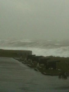Waves crash into Ardglass harbour as winds gust up to 42 mph