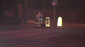 Army bomb disposal robot being used to examine suspicious object at Nutts Corner roundabout in Co Antrim