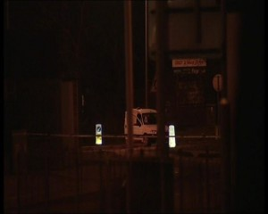 The van at the scene of the mortar bomb find in Derry