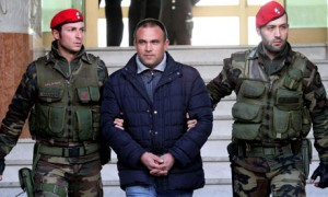 Italian carabinieri escort Francesco Maisano, an alleged 'Ndrangheta boss who was arrested in Calabria.