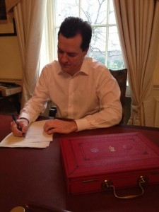 Chancellor George Osborne puts finishing touches to his 2013 budget