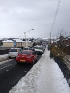 Traffic queuing on the Hightown Road in Belfast