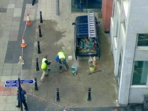 Workers find themselves in a tight spot outside the RVH in Belfast