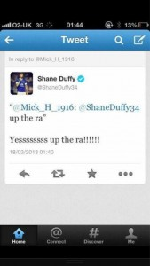 The offending message which appeared on Shane Duffy's Twitter account