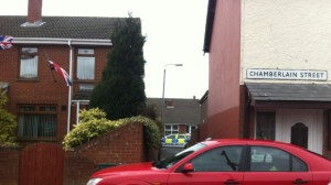 Police at the scene in east Belfast where a Stanley McAuley was seriously assaulted and later died in hospital