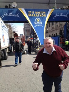 BBC presenter Stephen Nolan on the marathon route a day before the explosions
