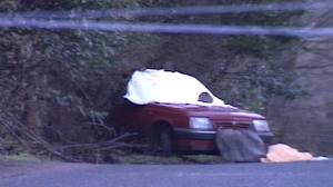 The scene in 1989 after Bob Buchanan's Vauxhall Cavalier car was ambushed by the IRA
