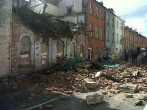 The scene of the building collapse in Derry