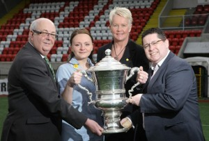 Marie Curie's Ann Hannon and Katarzyna Patynowska alongside Gerard Lawlor (Chairman of the Challenge Cup Committee & Cliftonville FC) and Glentoran's Aubry Ralph. Picture Credit: Matt Mackey / Press Eye