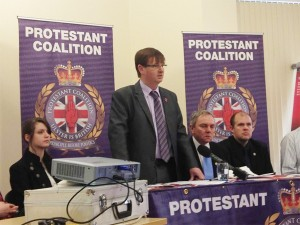 Former FAIR director Willie Frazer addresses press conference at launch of Protestant Coalition