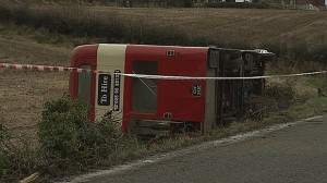 The double decker bus which toppled over carrying wedding guests on Saturday