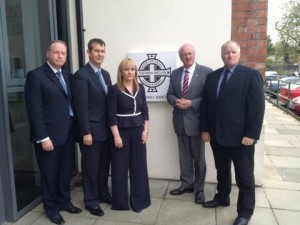 DUP delegation outside IFA headquarters for meeting over National Anthem