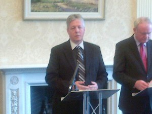 Peter Robinson and Martin McGuinness unveiling their plans for a shared future in NI