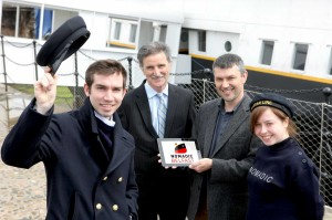 L-R):Mark Reid (SS Nomadic Crew), Denis Rooney CBE, Chairman of the SS Nomadic Charitable Trust, Craig McGuicken (Nomadic Trading Company)and Caroline Loughran (SS Nomadic Crew