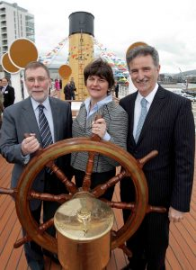 SS Nomadic...Social Development Minister Nelson McCausland, Tourism Minister Arlene Foster and Dr Denis Rooney CBE, Chairman of the SS Nomadic Charitable Trust have officially opened the SS Nomadic at her Hamilton dock berth in Belfast