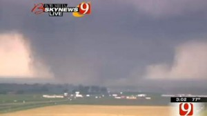 This frame grab provided by KWTV shows a tornato in Oklahoma City Monday, April 20, 2013.
