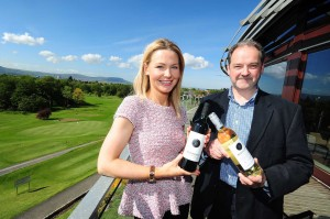 CHEERS... Sinead Adair of Woodford Bourne NI celebrates with Alan Chapman of Treasury Wine Estates as Lisburn-based Woodford Bourne secured an exclusive contract to distribute Napa Valley's oldest and most awarded wines across Northern Ireland.