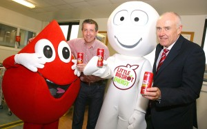 Kevin Carson (left) of Big Shot NI joins Paul McElkerney of the Northern Ireland Blood Transfusion Service (NIBTS) as the healthy energy drink joins forces with NIBTS to promote Blood Donor Week