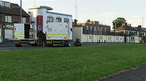 Army technical officers at the scene of hoax alert in Carrickfergus PSNI station