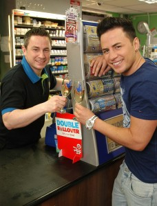 Ryan Dolan (right), brother Sacha (left) at the shop where Scaha bought his winning ticket