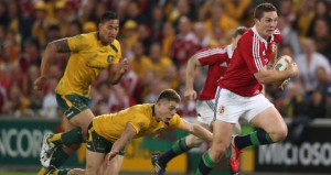 George North powers to the line to give the Lions their first try against Australia
