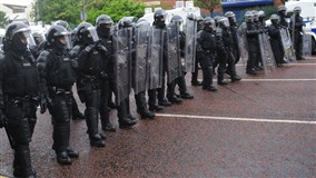 PSNI riot squad will out in force on Friday in Belfast for a repulican parade and loyalist counter demo