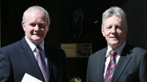 NOW WE ARE BACK TOGETHER: Martin McGuinness and Peter Robiinson unite for Belfast Investment conference