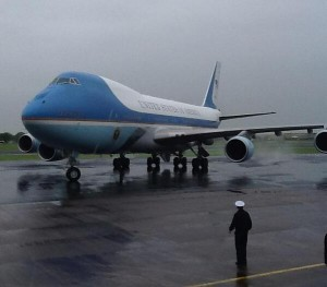 The US President's Air Force One plane touches down in Northern Ireland on Monday morning