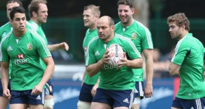 Ulster hooker Rory Best in training with the Lions after his surprise call up