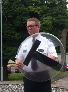 ACC Will Kerr with a shield broken during rioting in Belfast