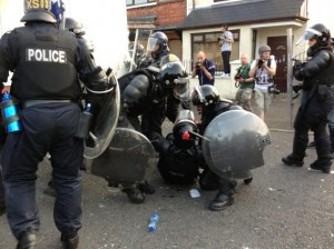 Police officer injured during serious rioting in the Ardoyne area by loyalists