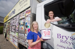 (From L- R): Ellen Hillen from Northern Ireland Children's Hospice and Claire McCallum from Bryson Recycling celebrate Bryson's annual '£1 a tonne campaign', which has raised almost £6,000 for the local charity