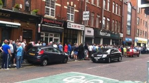 Fans queuing for the 500 extra tickets for the Cliftonville v Celtic match on Wednesday night