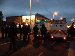 PSNI riot squad units dealing with trouble in the lower Newtownards Road in east Belfast